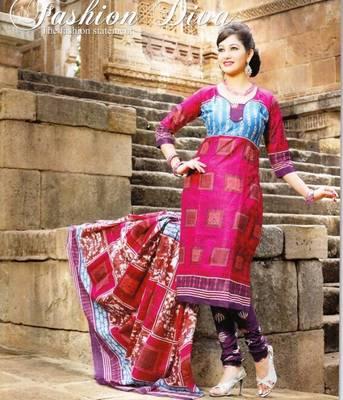 Fabulous Maroon Printed Cotton Dress MaterialD.No PB11006
