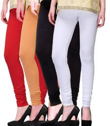 Buy Multicolor plain cotton leggings combo leggings-combo online