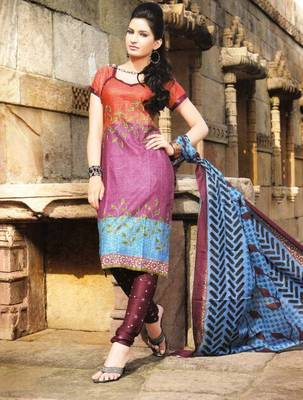 Alluring Multi Color Printed Cotton Dress Material D.No PB11008