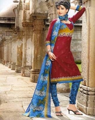 Dazzling  Maroon Printed Cotton Dress Material D.No PB11010