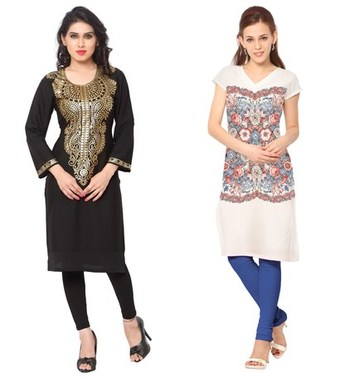 Black and white faux crepe printed stitched kurti
