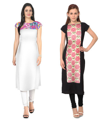 White and black faux crepe printed stitched kurti