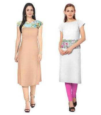 Peach and white faux crepe printed stitched kurti