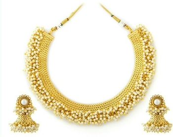 Gold Plated Traditional Pearl beads necklace