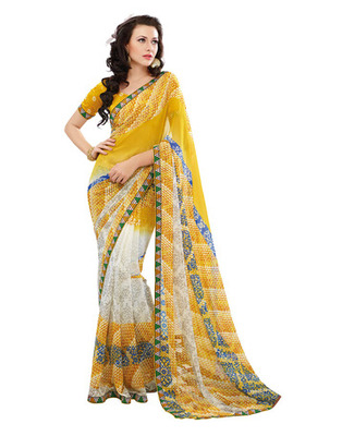 Yellow Colored Georgette Saree