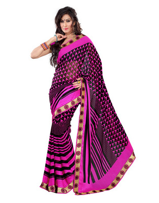 Light Pink & Black Colored Georgette Saree