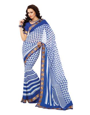 Blue & White Colored Georgette Saree