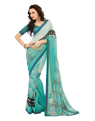 Turquoise Colored Georgette Saree