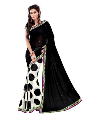 Black & White Colored Georgette Saree