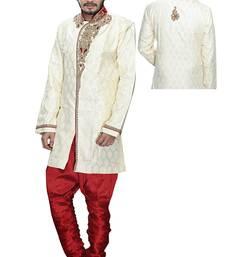 Buy gold dupion silk stone sherwani jodhpuri-sherwani online