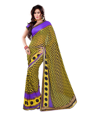Yellow & Blue  Colored Georgette Saree
