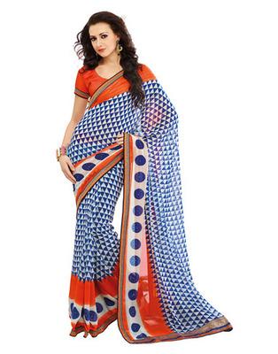 Blue & Orange Colored Georgette Saree