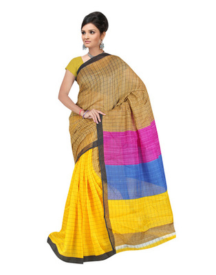 Yellow Colored Linen Silk Saree