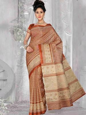 Kalazone Red Beige Bhagalpuri Silk Saree:WS20351