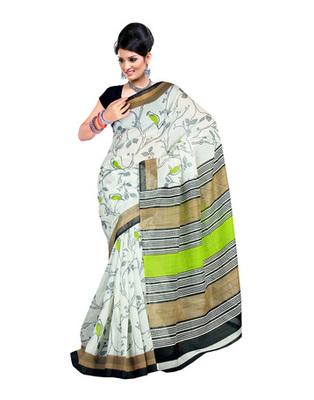 White Colored Linen Silk Saree