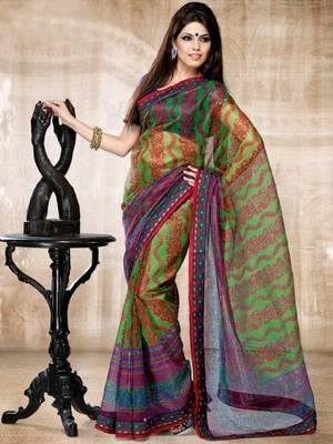 Kalazone Red,Green,Blue Printed Flower Print Super net Saree WS20547
