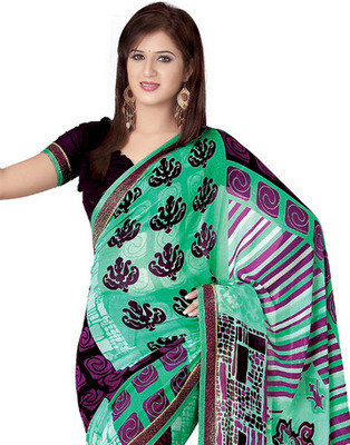 Sea Green Colored Georgette Saree
