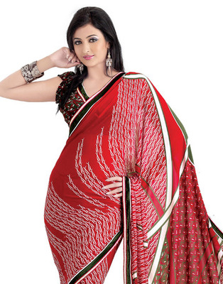 Red Colored Georgette Saree