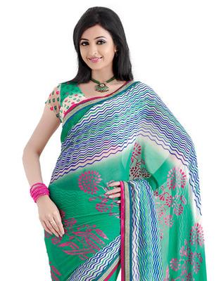 Green Colored Chiffon Saree