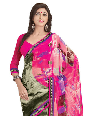 Pink Colored Georgette Saree