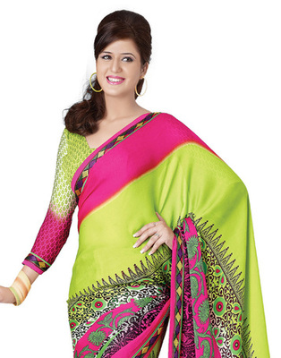 Green & Pink Colored Georgette Saree