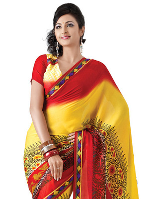 Yellow & Red Colored Georgette Saree