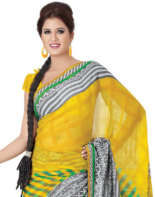 Yellow Colored Marble Chiffon Saree
