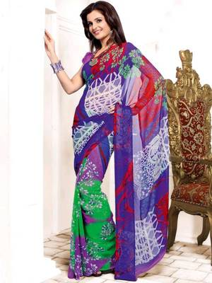 Kalazone Multi colored Faux Georgette Geometric Print Saree:WS20614