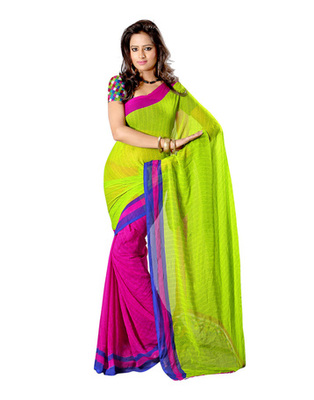 Green & Pink Colored Faux Georgette Saree
