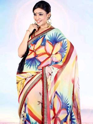 Kalazone Multi colored Flower Print Faux Georgette Saree:WS20642