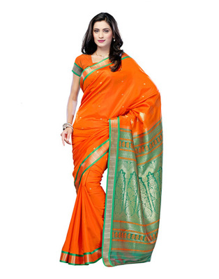 Orange Colored Cotton Saree