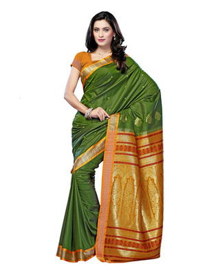 Green Colored Cotton Saree