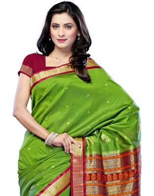 Green Colored Cotton Saree