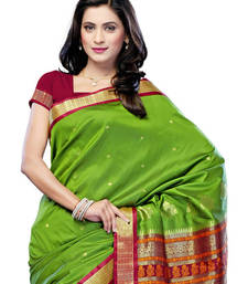 Buy Green Colored Cotton Saree  cotton-saree online