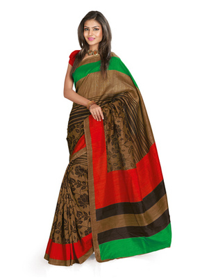 Coffee & Red Colored Bhagalpuri Silk Saree