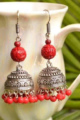 Oxisidised Silver Semi precious stone KundanJhumka Earrings