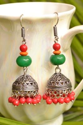 Oxisidised Silver Semi precious stone KundanJhumka Earrings