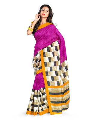 Magenta & Yellow Colored Bhagalpuri Silk Saree