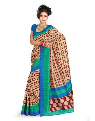 Cream & Blue Colored Bhagalpuri Silk Saree
