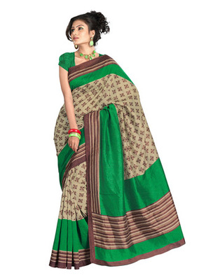 Cream & Green Colored Bhagalpuri Chex Saree
