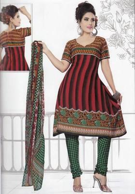 Dress Material Crepe Unstitched Elegant Salwar Kameez Suit D.No 7404