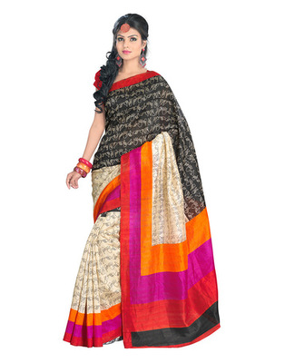 Black & Cream Colored Bhagalpuri Silk Saree
