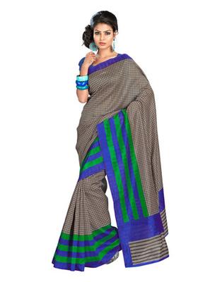 Grey & Blue Colored Bhagalpuri Silk Saree