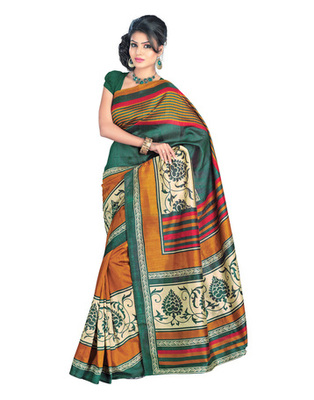 Green & Golden Colored Bhagalpuri Silk Saree