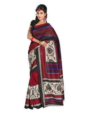 Black & Maroon Colored Bhagalpuri Silk Saree