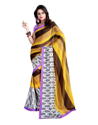 Yellow & White Colored Chiffon Printed Saree