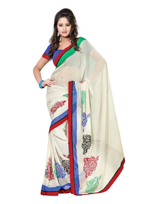 Off White & Green Colored Marble Chiffon Printed Saree
