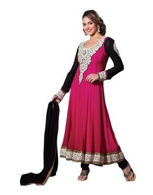 Pink & Black Colored Pure Georgette Salwar Kameez Semi-Stitched Salwar Suit