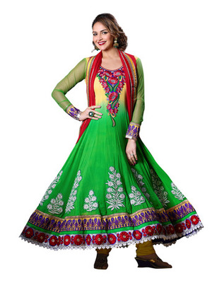 Green & Yellow Colored Pure Georgette Salwar Kameez Semi-Stitched Salwar Suit