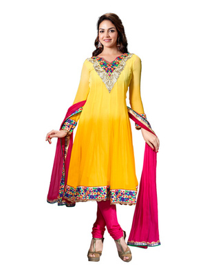 Yellow & Pink Colored Pure Georgette Salwar Kameez Semi-Stitched Salwar Suit